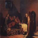 Nikolai Nikolaevich Ge (1831-1894)  The Last Supper  Oil on canvas, 1866  66.5 x 89.6 cm  The State Tretyakov Gallery, Moscow, Russia